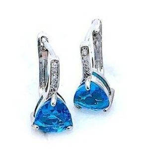 Blue Zircon Trillian Cut Earrings
